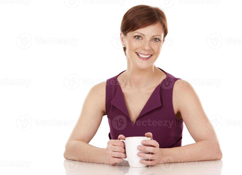 vrouw koffie drinken foto