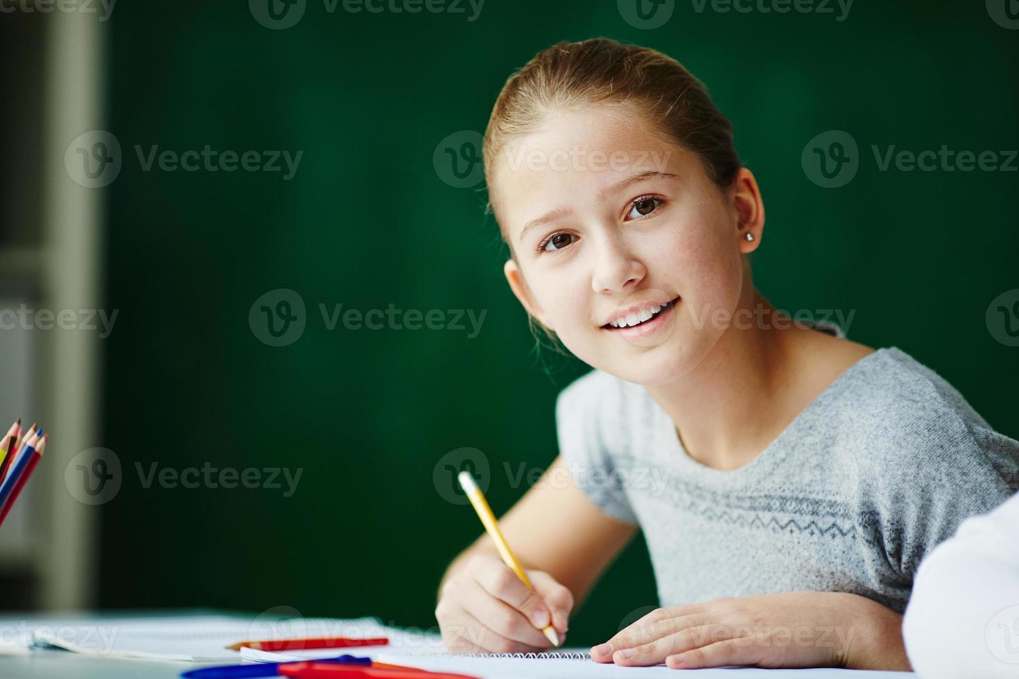 gelukkige leerling foto