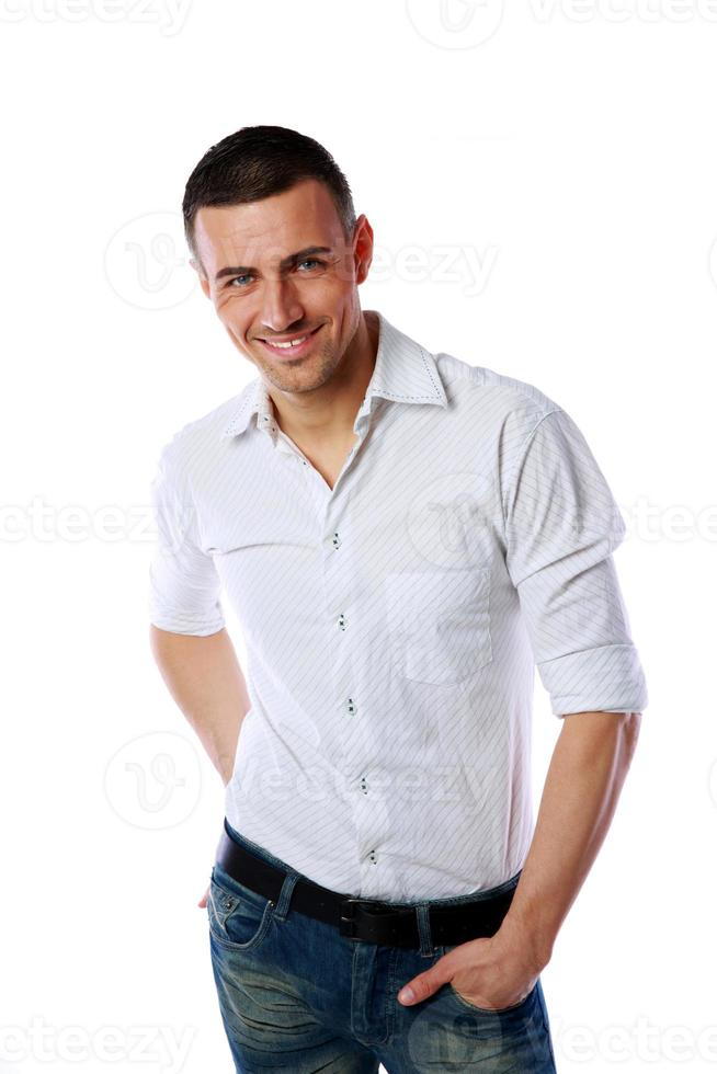 knappe vrolijke man permanent foto