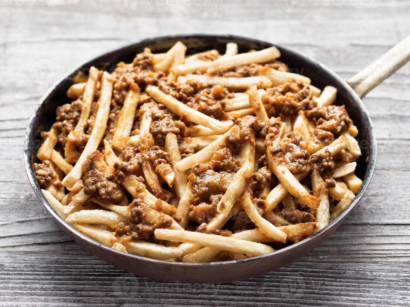 rustieke Amerikaanse chili frietjes foto