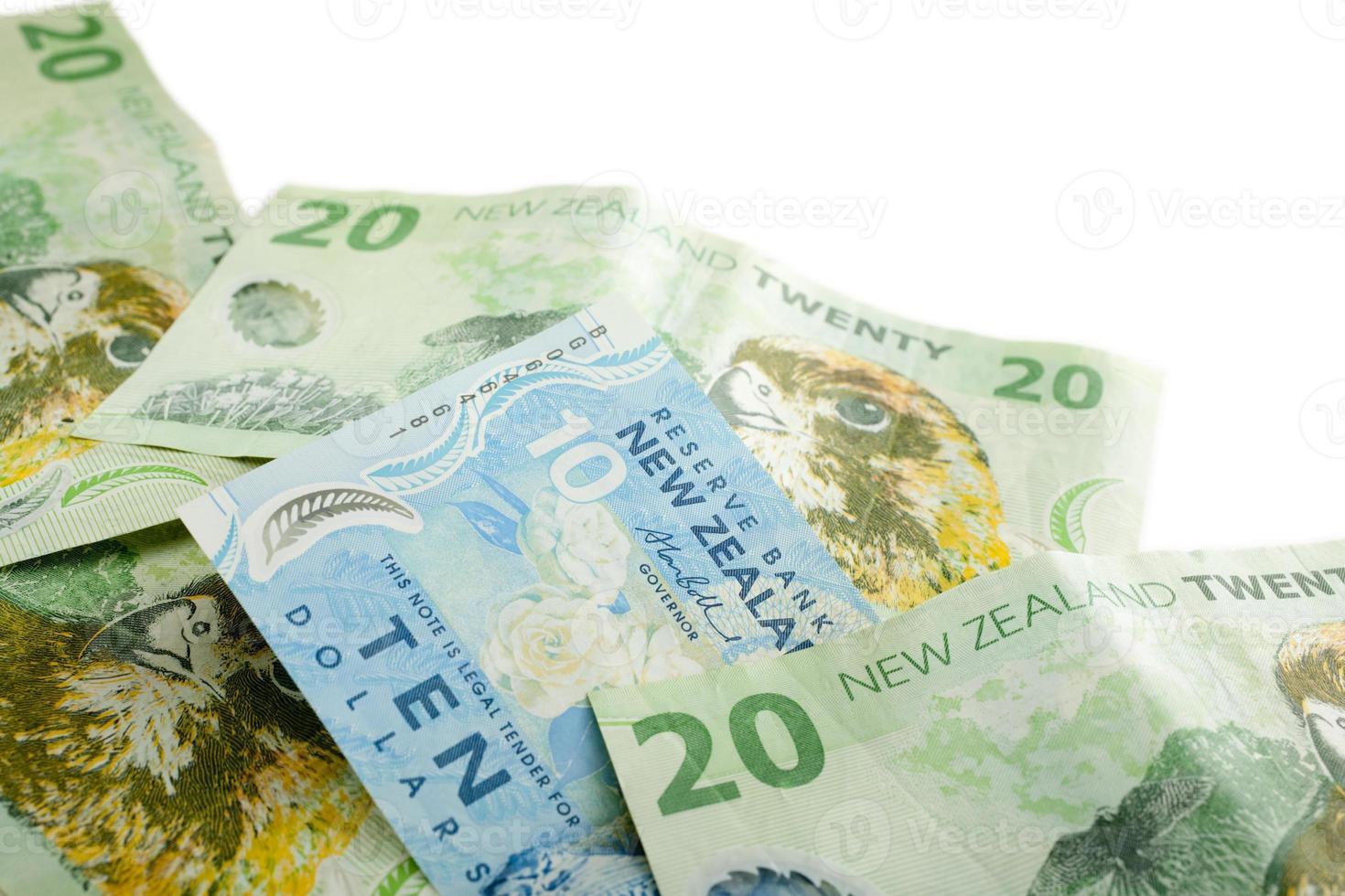 Nieuw-Zeeland valuta met kopie ruimte foto
