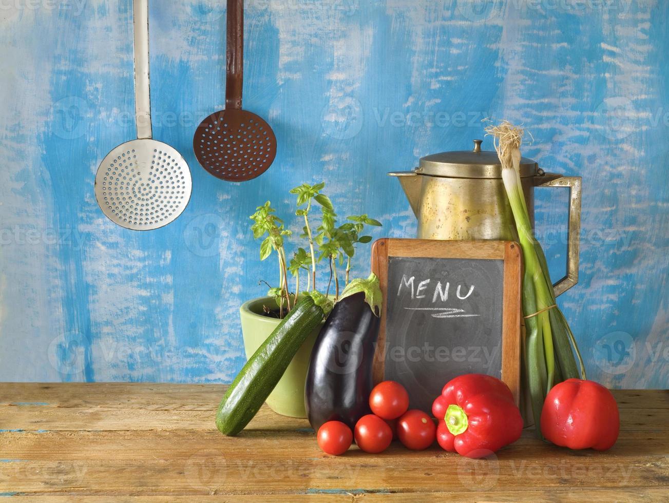 voedselingrediënten, menubord, vrije exemplaarruimte foto