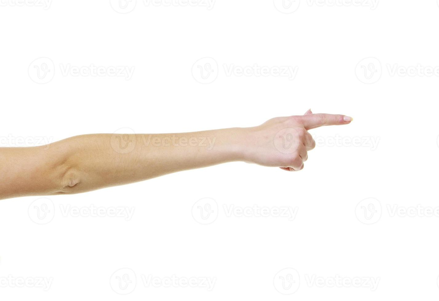 deel meisje vrouw. vrouwelijke hand wijzen met lege kopie ruimte foto