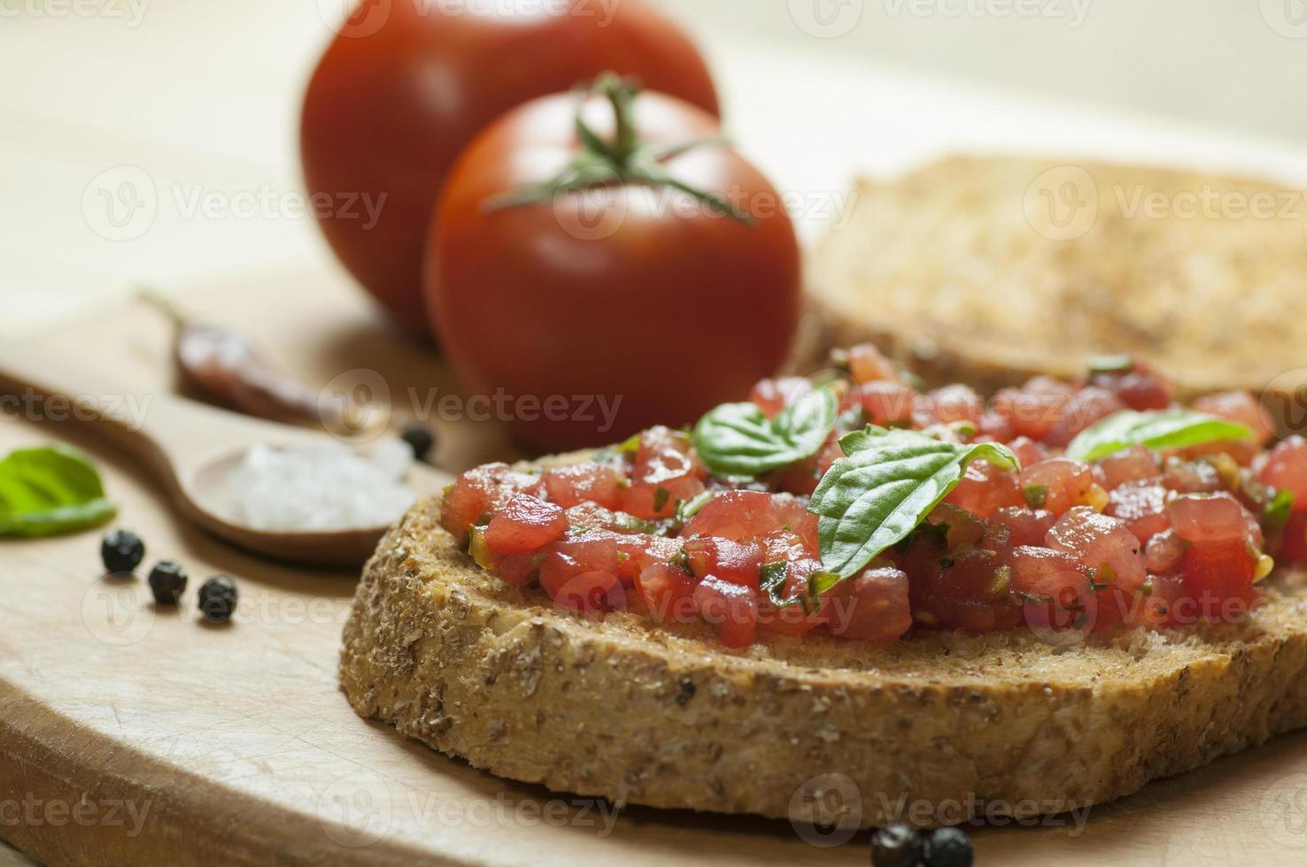 Italiaanse bruschetta close-up foto