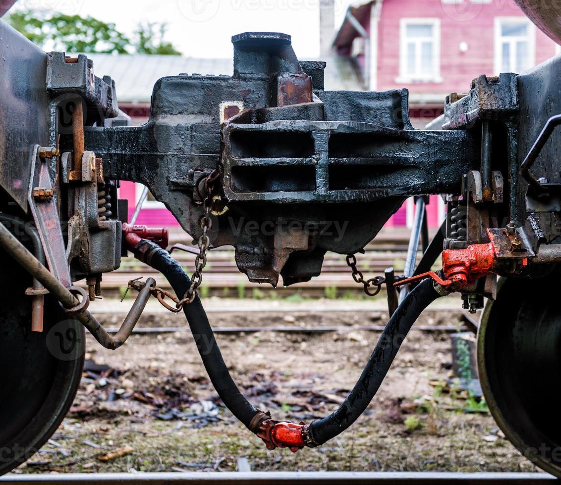 trein koppeling close-up foto