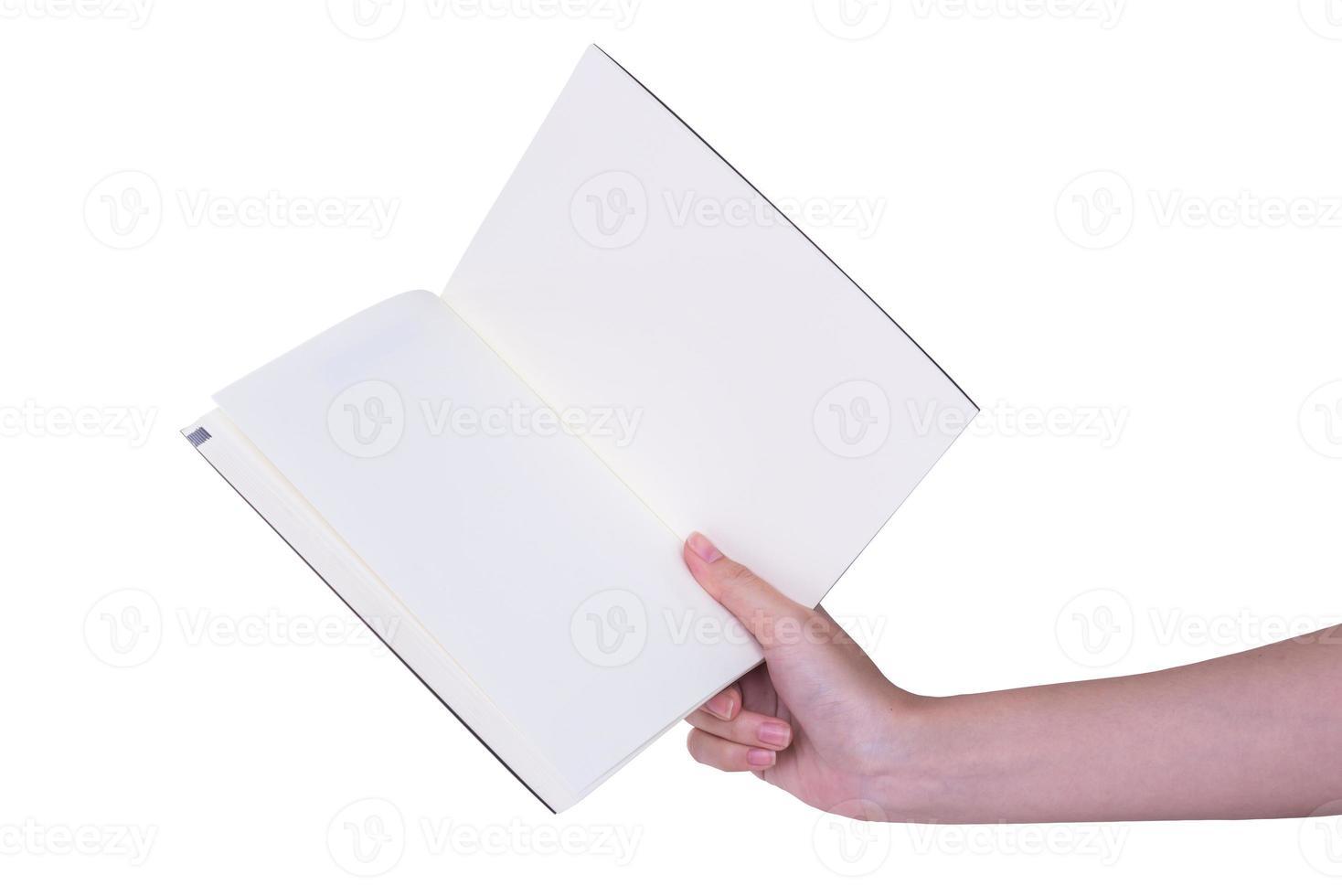 vrouw (vrouw) twee handen houden een leeg (leeg) boek (notitie, dagboek) foto