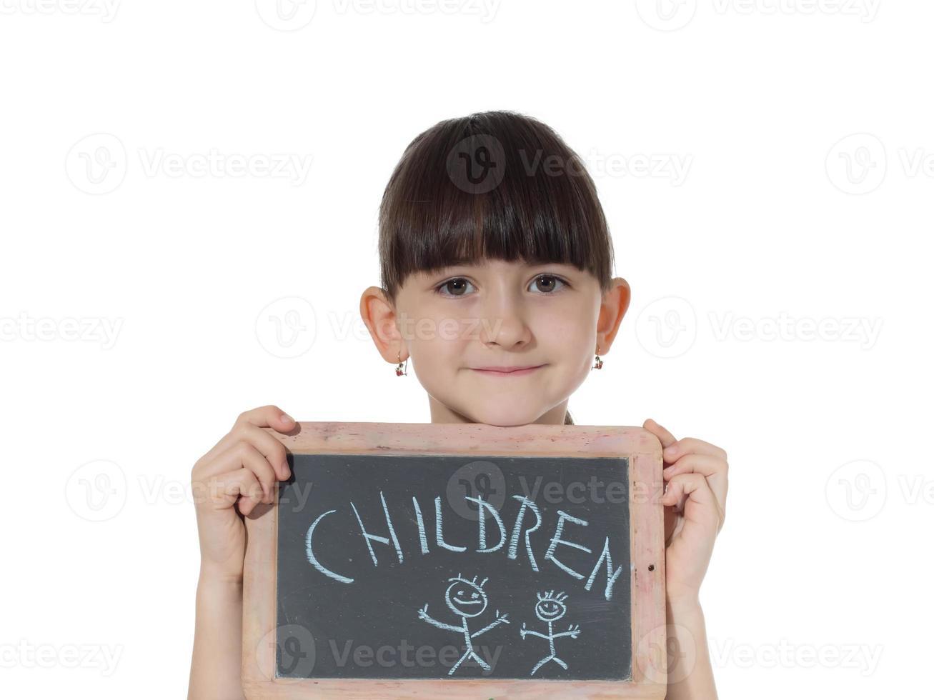 meisje en schoolbord foto
