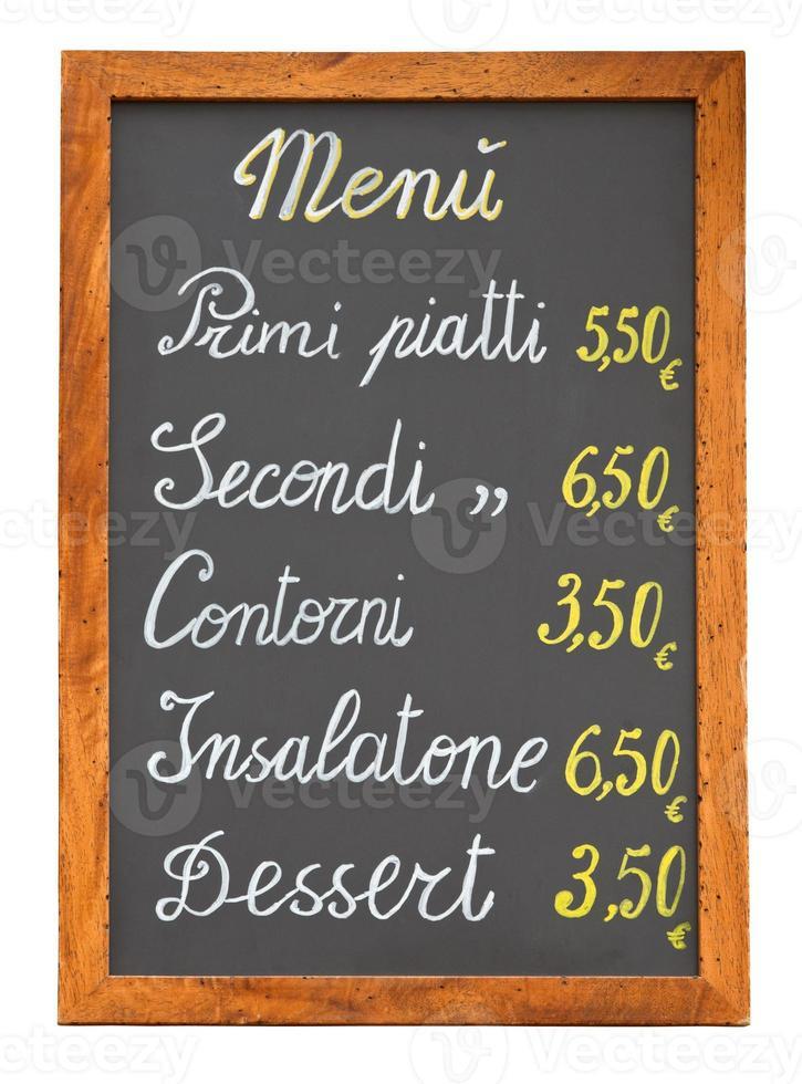 Italiaans restaurant menu krijtbord uitsparing foto