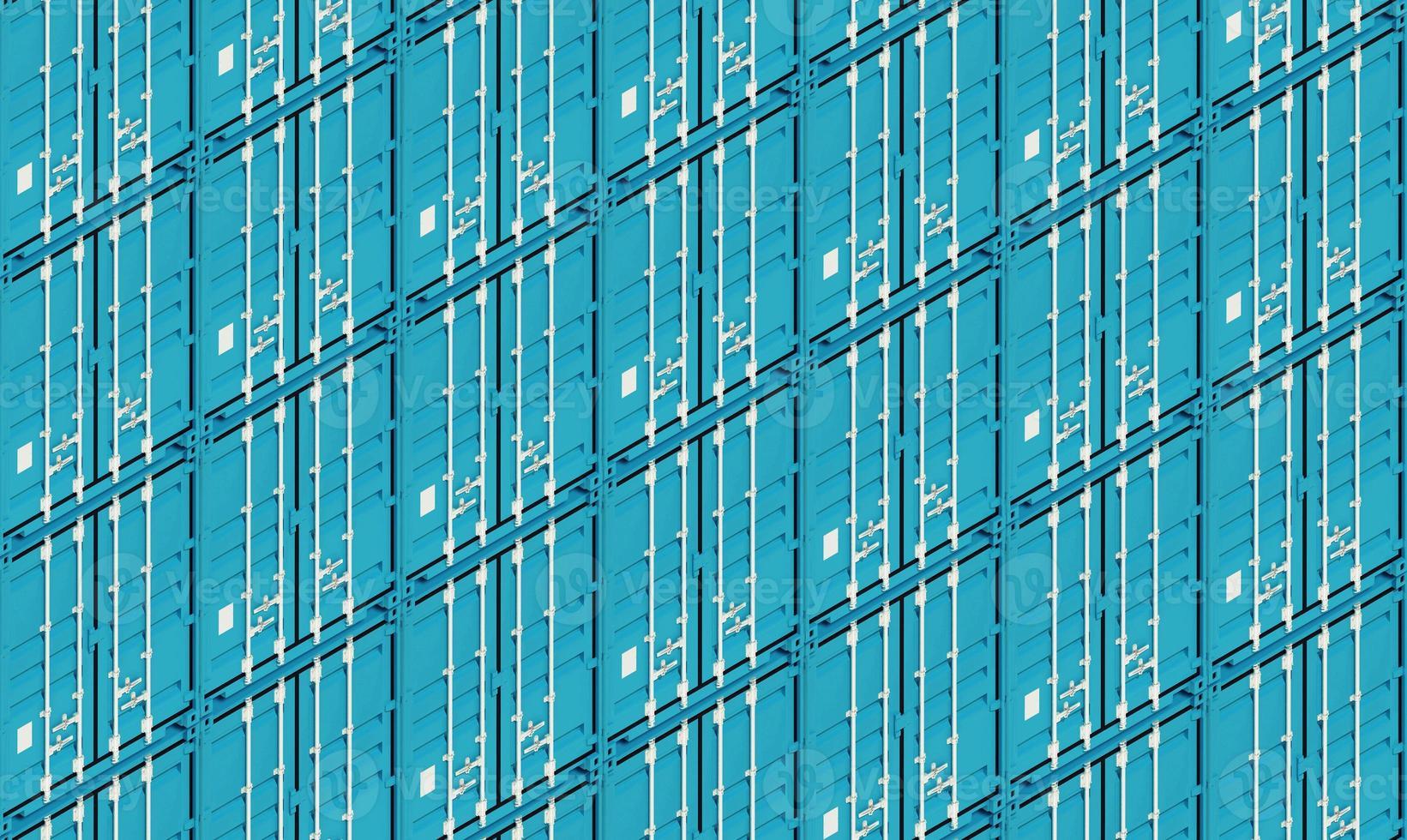 blauwe metalen vrachtcontainers, 3d illustratie foto