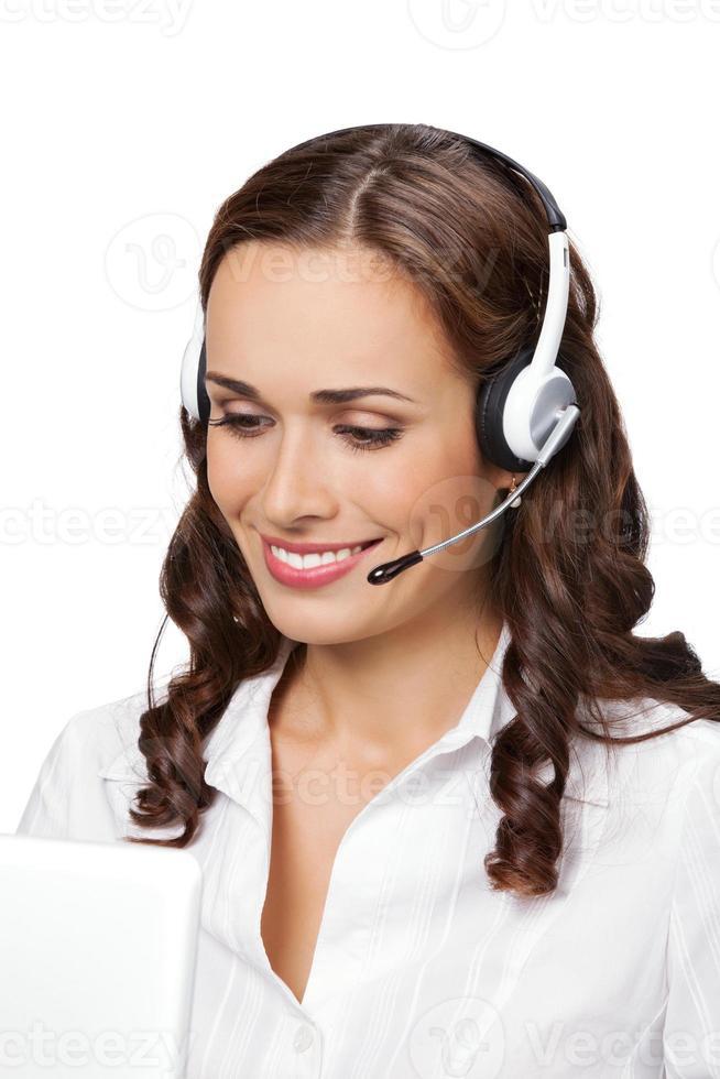 portret van gelukkig lachend vrolijke jonge ondersteuning telefoon operator foto
