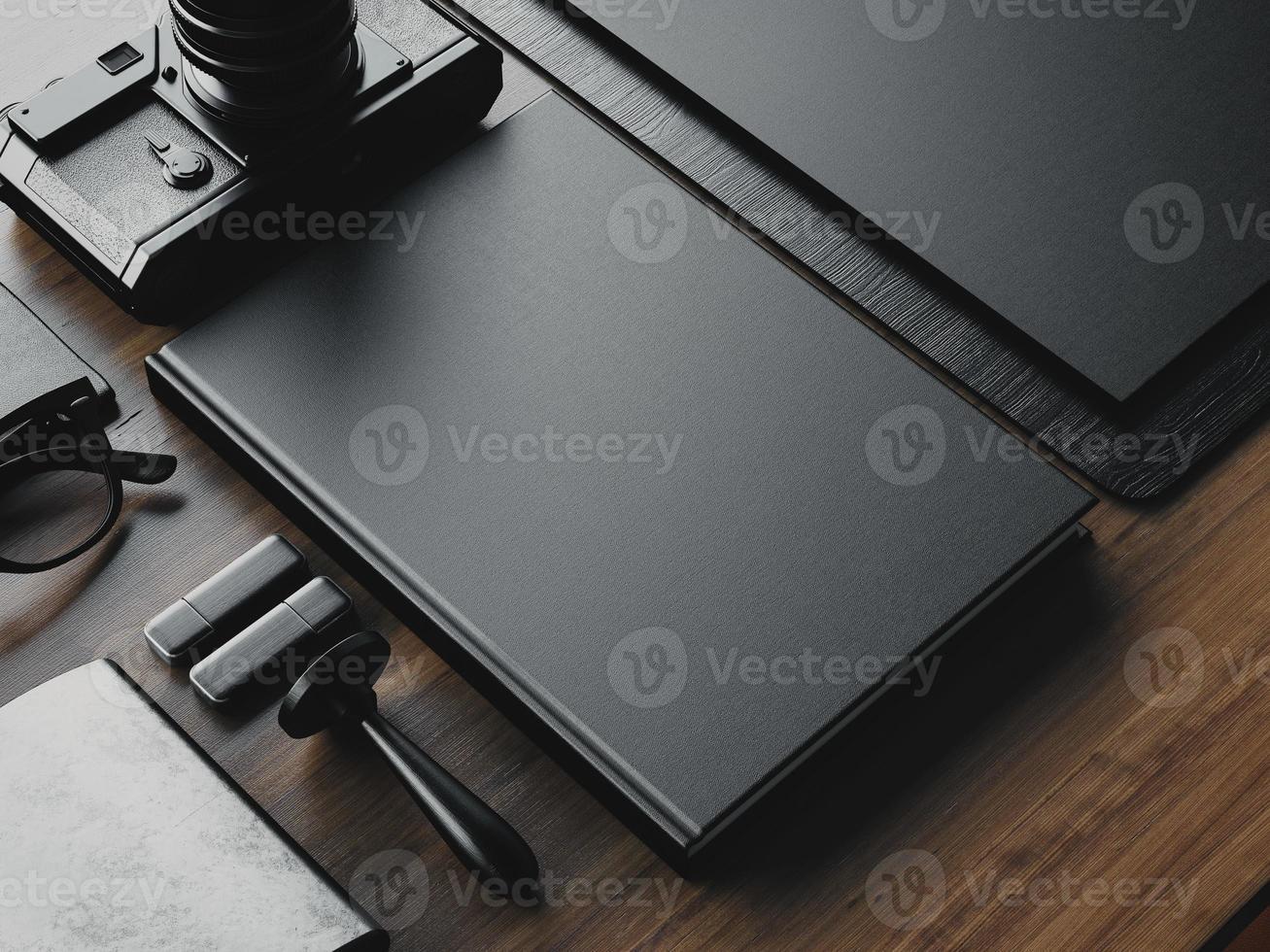 set van zakelijke lege elementen op tafel. 3D render foto