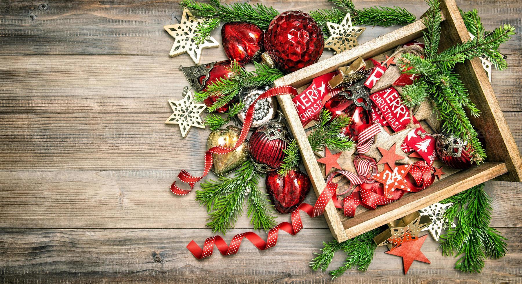 kerstversiering, speelgoed en ornamenten vintage foto