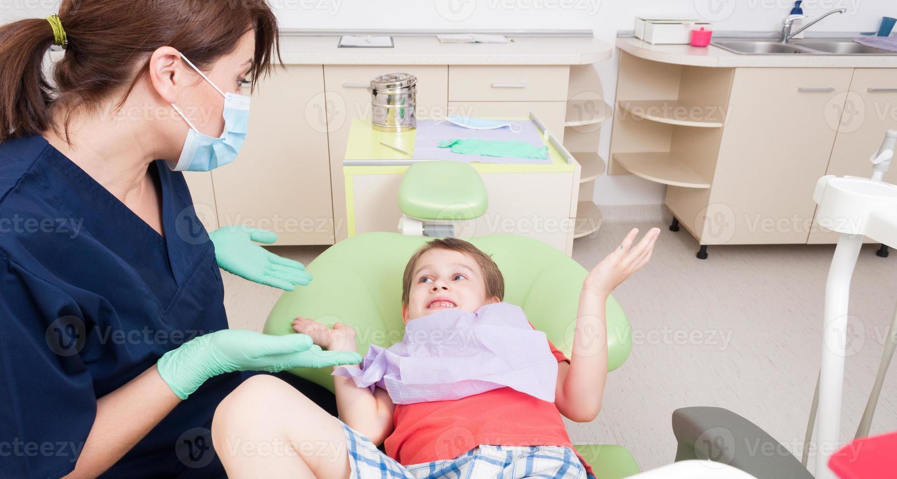 geen angst voor tandartsconcept foto