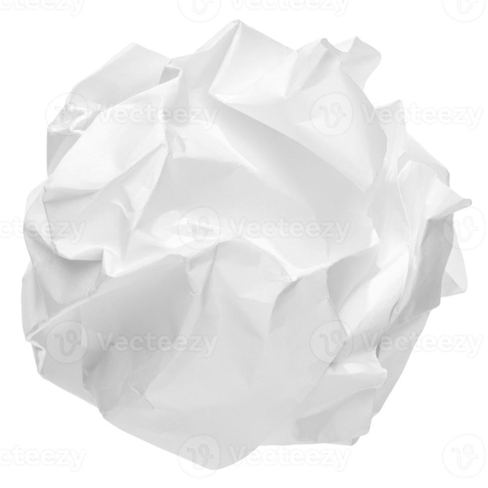 verfrommeld papier bal op een witte achtergrond foto