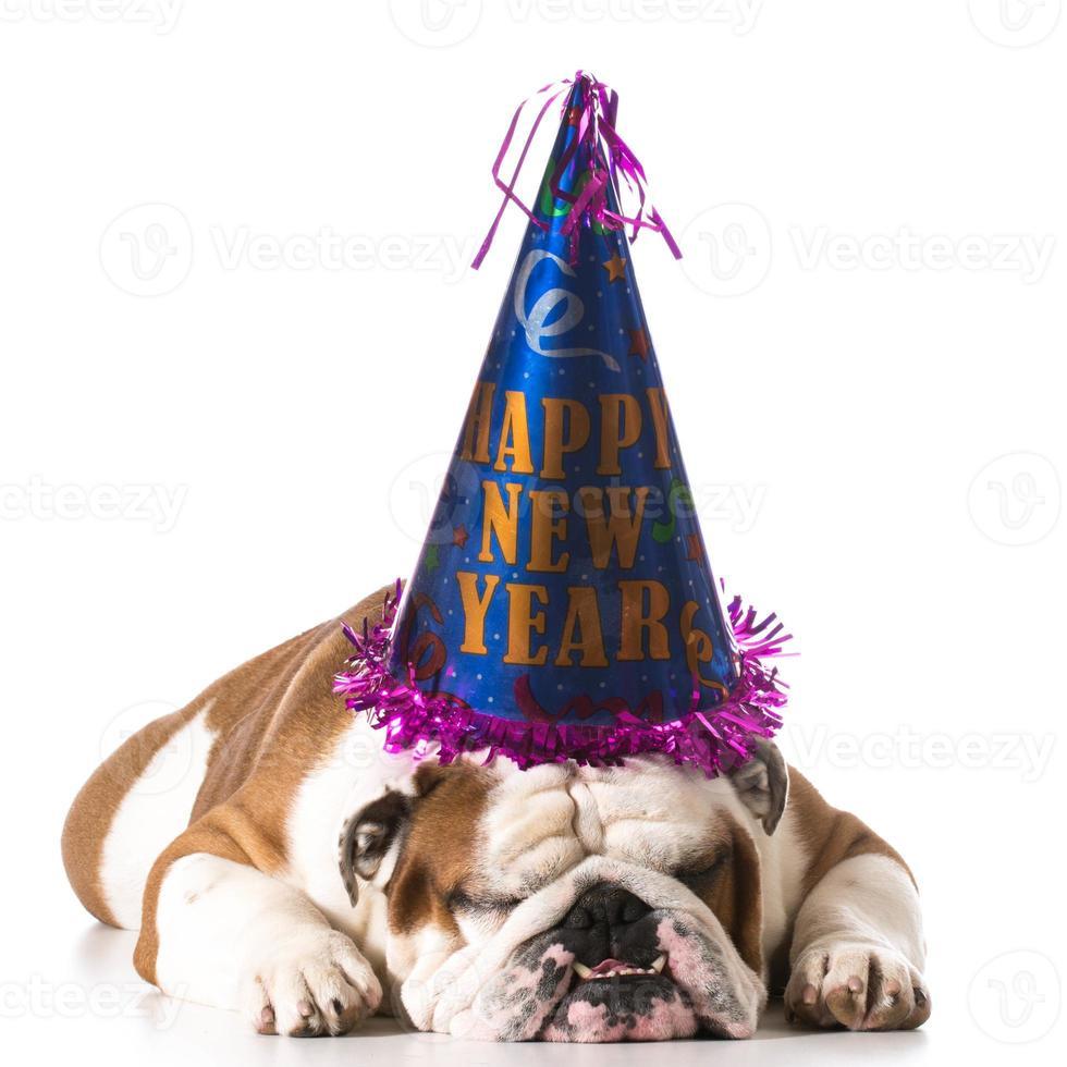 gelukkig nieuwjaar hond foto