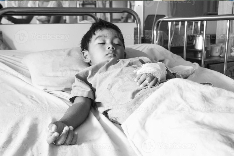 de patiënt op het bed foto