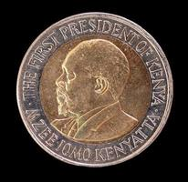 de 20 shilling munt die de eerste president van Kenia voorstelt foto