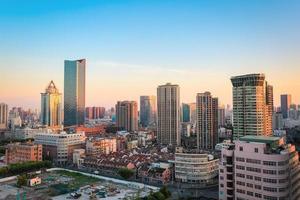 moderne stad in de ochtend foto
