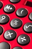 rode rekenmachine, close-up