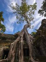 oude stenen gezicht van bayon tempel foto