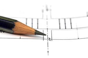 bouwontwerp met potlood foto