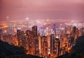 de skyline van de stad van hong kong, china foto
