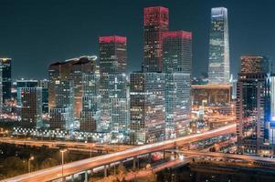beijing guomao cbd skyline 's nachts foto