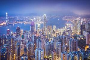 de skyline van de stad van hong kong china foto