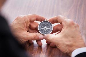 hand met kompas foto