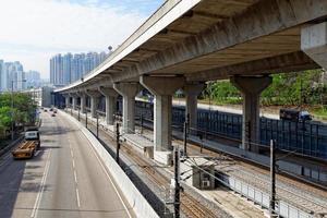 verkeersnacht in de binnenstad, hong kong foto