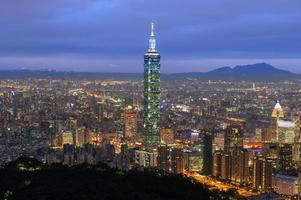 skyline van de stad taipei foto