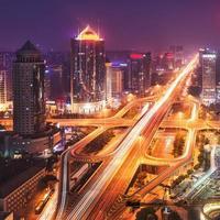beijing cbd skyline zonsondergang, nacht foto