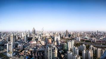 shanghai panorama van de stad foto