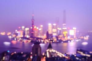 nacht shanghai skyline met reflectie, prachtige moderne stad