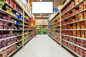 supermarkt lege tv achtergrond foto