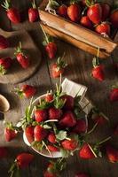 rauwe biologische lange steel aardbeien foto