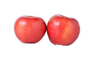 rode appels met stengel op witte achtergrond foto