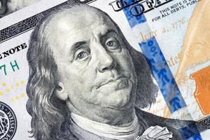 Benjamin Franklin 100 dollarbiljet foto