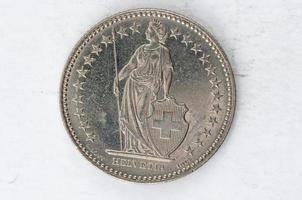 twee zwitserse franken munt 2007 zilver foto