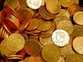 achtergrond met gouden munten foto