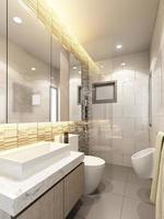 3d geef van binnenlandse badkamers terug foto