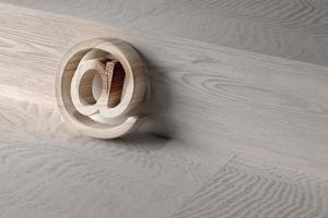3d op op een houten oppervlak foto