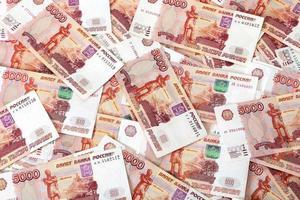 close-up van Russische bankbiljetten. vijfduizend roebelbiljetten foto
