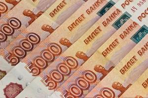 achtergrond van Russische bankbiljetten foto