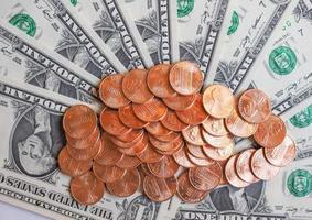 dollar munten en biljetten foto