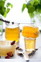 honing variëteit, honingraat in glazen potten. foto