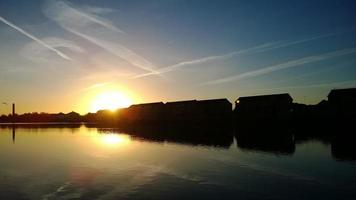 millwall dock, Londen, bij zonsopgang
