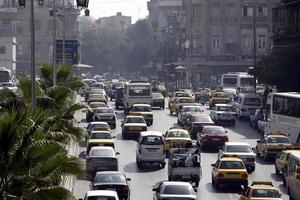 syrië damascus stadsverkeer foto
