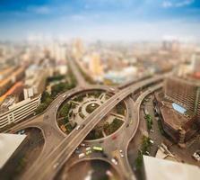 luchtfoto's van de stad met tilt-shift effect foto