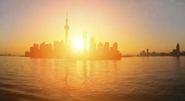 lujiazui finance & trade zone van de skyline van Shanghai bij panoramisch foto